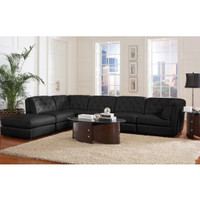 Coaster Furniture Quinn Upholstery Stationary Fabric Sectional in Black 551031