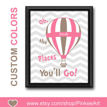 oh the places youll go kids wall art dr seuss nursery girl nursery art chevron new baby decor hot air balloon girl decor baby nursery print