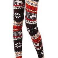 Simplicity Womens Multi-Style Nordic Snow Flake Reindeer Knitted Tights Leggings
