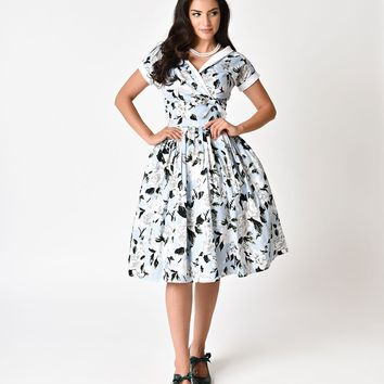 Unique Vintage 1950s Style Light Blue & White Floral Print Pleated Waldorf Swing Dress