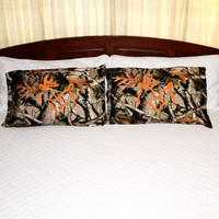 Camo Pillow Case with Orange Snuggling Buck Doe
