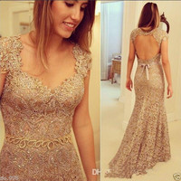 Mermaid Lace Evening Dress Backless Prom Gown Long Formal Party Dress 2015