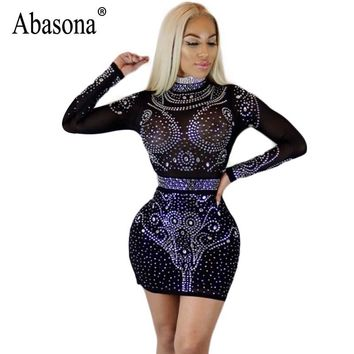 Abasona Spring Women Rhinestone Dresses Sexy Party Club Sparkle Dress Long Sleeve Hollow Out Bodycon Pencil Mesh Dress