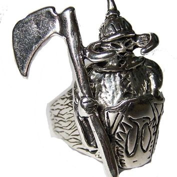 Quality MIDEVAL VIKING KNIGHT W ARMOR BIKER SILVER RING BR13 jewelry