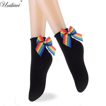 Chic Women's Lovely Gradient Color Rainbow Bow Socks.Casual Female Contrast Color Short Socks.Cute Ladies Bow knot Sox