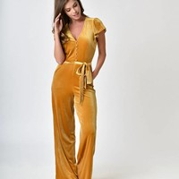 1970s Style Golden Yellow Velvet Cap Sleeve Jumpsuit