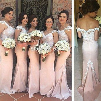 Blush Light Pink Bridesmaid Dresses with Lace Appliques Long Bridesmaid Dresses Mermaid Prom Dress