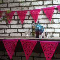 Hot pink vintage lace bunting, laser cut wedding garland, luxury fabric banner