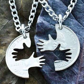 2 Hands Couples and Best Friend Necklaces