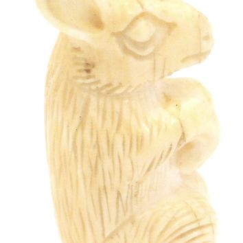 Antique Genuine Carved Ivory Rabbit Charm Figure