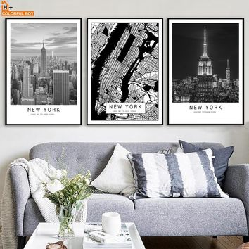 COLORFULBOY New York Map Landscape Wall Art Print Canvas Painting Nordic Poster Black White Wall Pictures For Living Room Decor