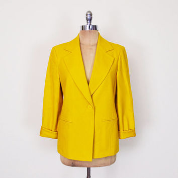 Mustard Yellow Blazer Jacket Color Block Blazer Colorblock Blazer Boyfriend Blazer Oversize Blazer Wool Blazer 80s Blazer Blogger M Medium