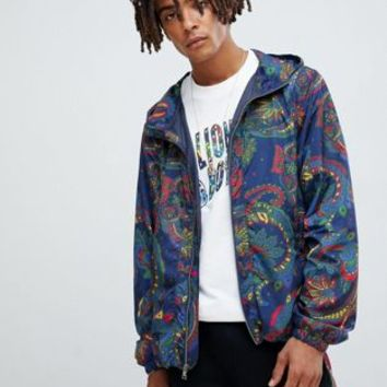 Billionaire Boys Club paisley print jacket with hood in blue at asos.com