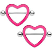 "3/4"" Pink Glow in the Dark Valentine Heart Nipple Shield Set"