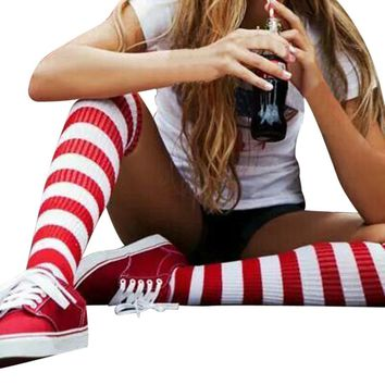 GBSELL Fashion Women Girl Red and White Striped Kntting Thigh-High Warm Socks