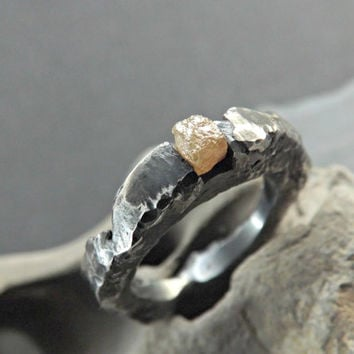 rough diamond ring - silver branch ring - molten silver ring - branch engagement ring - rustic diamond ring- rustic engagement ring