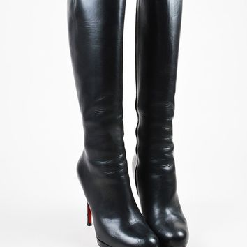 PEAPU2C Christian Louboutin Black Leather New Simple Botta 120 Knee High Boots