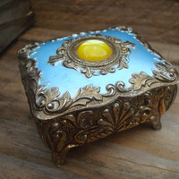 Blue and Yellow Ornate Hinged Trinket Box, Vintage Home Decor Box, Gift Ideas for Women, Mini Jewelry Box