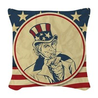 uncle sam Woven Throw Pillow