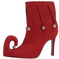 Adult Women's Red Elf Costume Shoes (Size: 10)