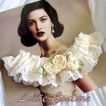Wedding Garters Bridal Garters Garter Set Garters by lolliecouture