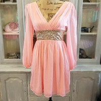THE GLIMMERING GODDESS BLUSH CHIFFON DRESS
