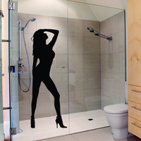 Sexy girl silhouette bathroom vinyl decal