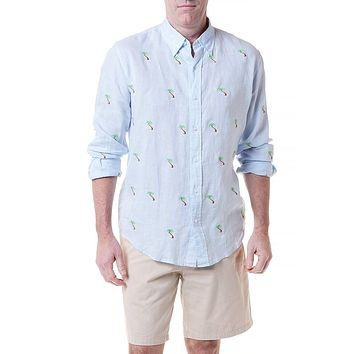Straight Wharf Linen Shirt with Embroidered Palm Tree by Castaway Clothing - FINAL SALE