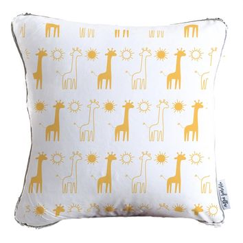 Giraffes + Summer Decorative Velvet Kids Pillow w/ Reversible Gold & White Sequins- COVER ONLY (Inserts Sold Separately)