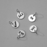 Running Charm - Tiny Sterling Silver Hand Stamped Disc - 26.2, 13.1, 10K, 5K Run - CLASSIC Font