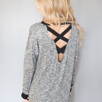 Charcoal Cross Back Sweater Top