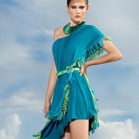 PETROL BLUE DRESS for summer beach coast sea haute couture everyday chic holiday one shoulder style