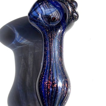 Mystic Midnight Magic - Full Dichroic Galaxy Glass Pipe - Heady Glass Spoon Outer Space Smoking Bowl Custom Made Dichro Glitter Piece