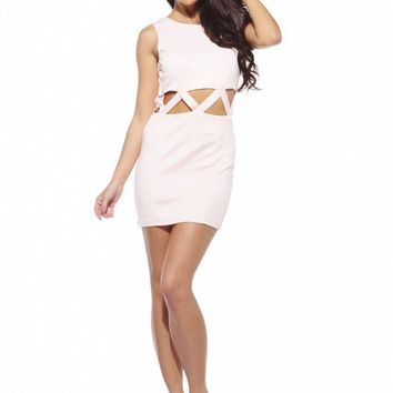 Nude Sleeveless Bodycon Dress with Cutout Waist