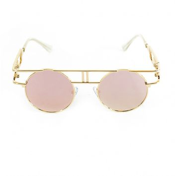 PASSIONFRUIT ROUND LENSE SUNGLASSES WITH GOLD FRAME