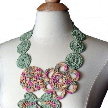 Crochet Necklace Crochet Bib Statement Necklace Irish Crochet Lace Flower Necklace