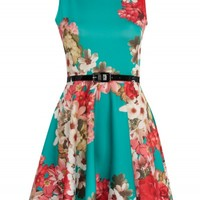 Teal Multi Floral Print Belted Skater Dress | Dresses | Desire