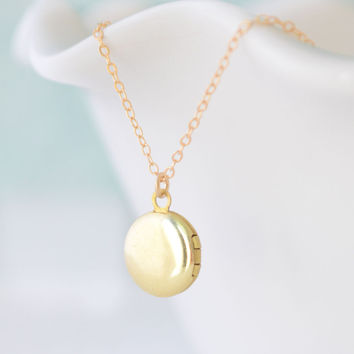 Tiny Round Brass Locket Necklace
