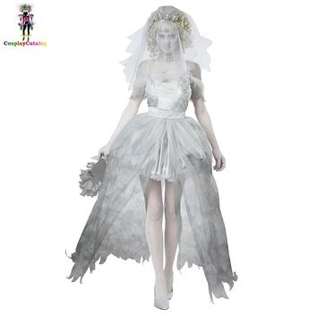 White Gray Lace Shoulder Sleeves Ghostly Bride Scary Costume Halloween Party Adult Mummy Woman Dress Doom Ghost Bride Costumes