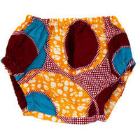 Yellow Red Circles African Wax print Baby Bloomers