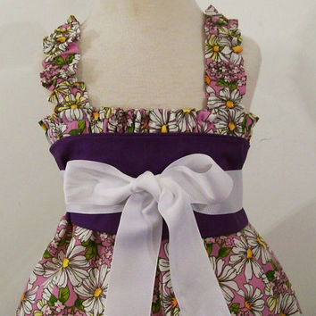 Girls Dress-Daisies-Lavender Rylee -Made in the Usa-Baby-Toddler-Big Girl-Easter-#220