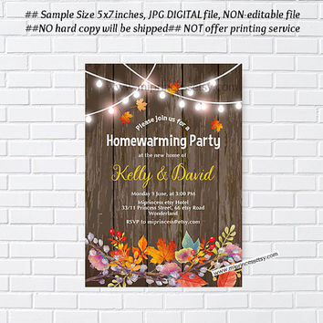 Rustic Fall, autumn , Fall housewarming party invitation, New house,  home sweet home, housewarming - card 1028