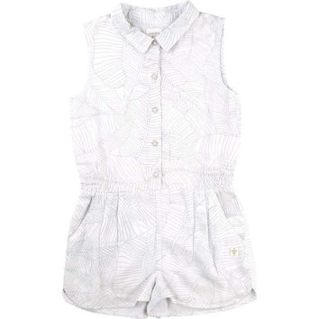 Carrément Beau - Girls Leaf Romper, White