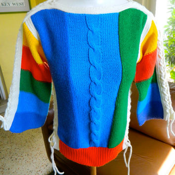 1970s rainbow colored vintage knit knit sweater - size medium