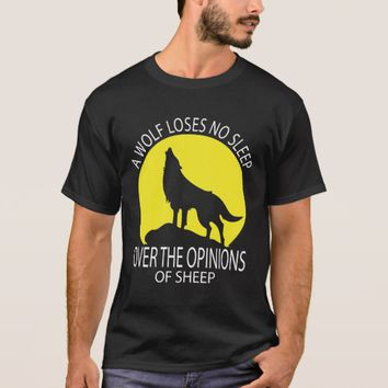 Wolf Loses No Sleep Over Opinions of Sheep T-Shirt