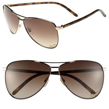 Gucci 62mm Metal Aviator Sunglasses