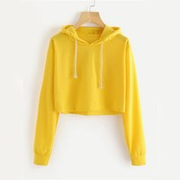 Yellow Crop Hoodies