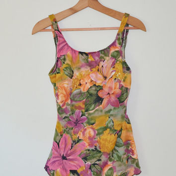 Vintage 80s Swimwear Swimsuit Bathing Suit Floral Print Once Piece Swimming Costume Open Back Size 16 Plus Size