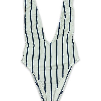 Cannes Navy Nautical Stripped One Piece Swimsuit