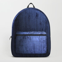 Old blue window at night Backpack by steveball